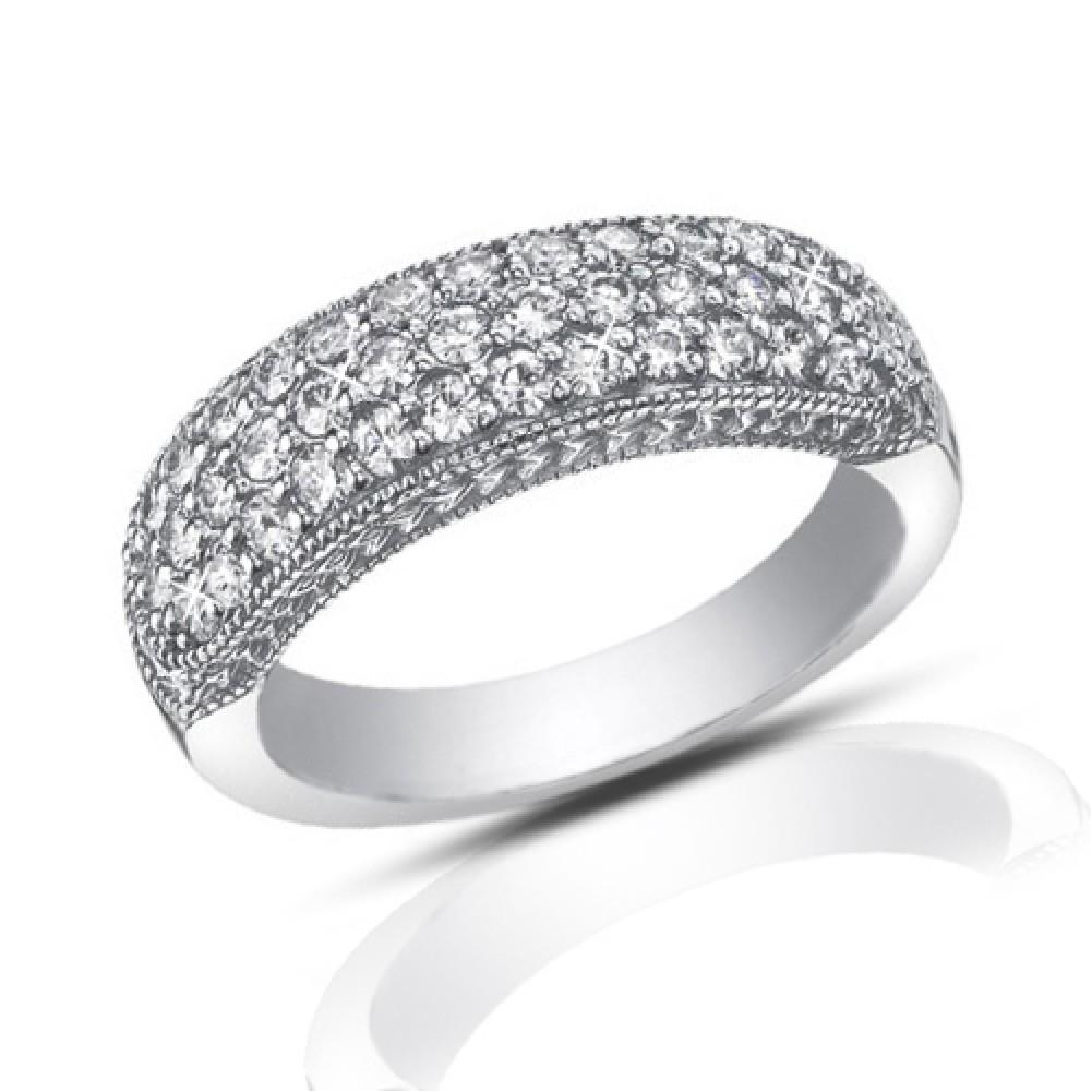ct pave set round cut diamond wedding band ring
