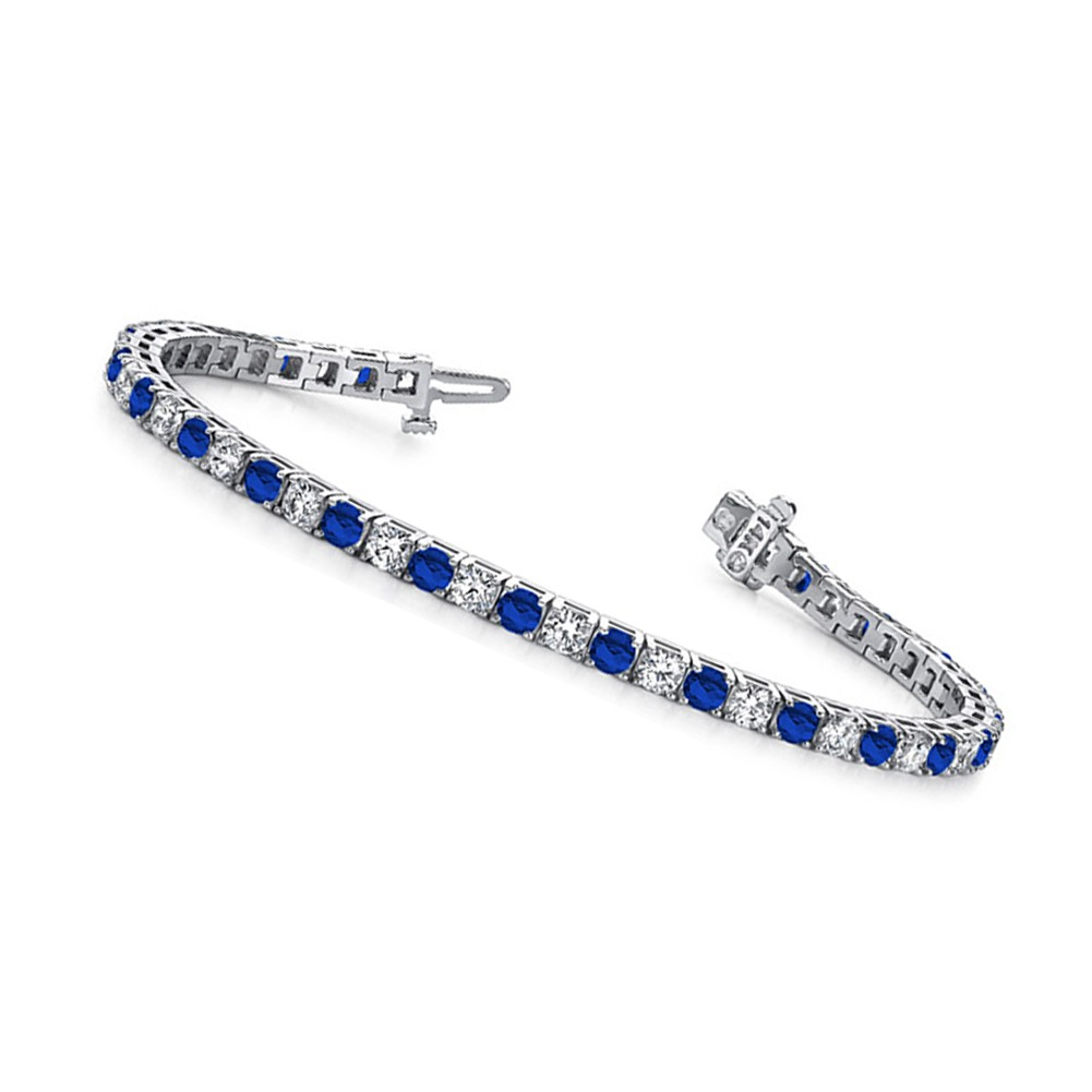 10 00 Ct Ladies Round Cut Diamond And Sapphire Tennis