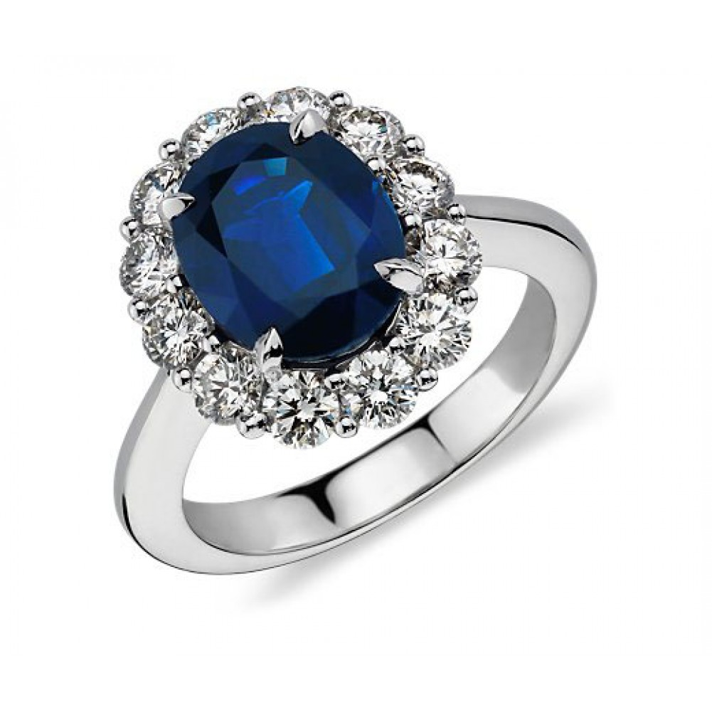 7 28 Ct Oval Shape Sapphire And Diamond Engagement Ring