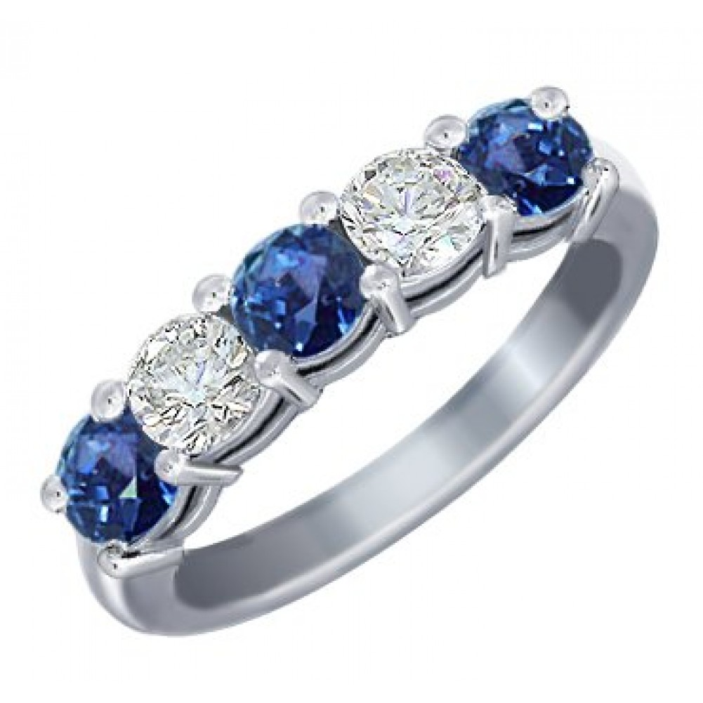 1 00 Ct Round Cut Diamond And Blue Sapphire Wedding Band Ring