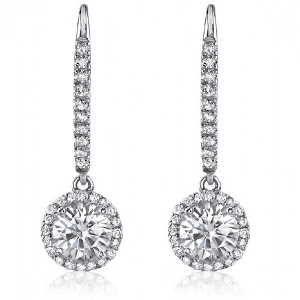 150 Ct Ladies Round Cut Diamond Drop Earrings In White Gold
