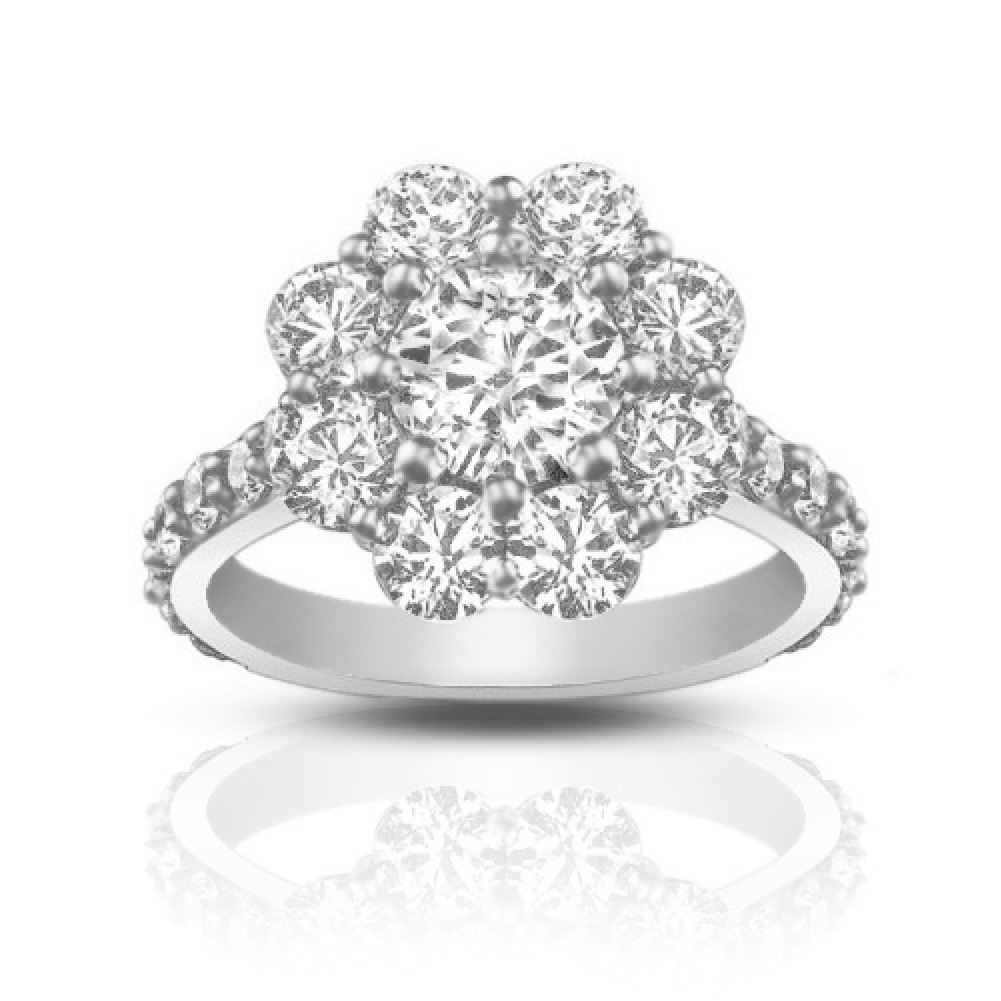 2 90 ct cut cluster engagement ring