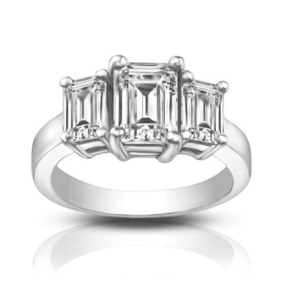 1 75 ct Three Stone Emerald Cut Diamond Engagement Ring