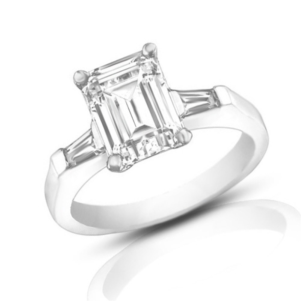 1 00 ct La s Emerald Cut Diamond Engagement Ring