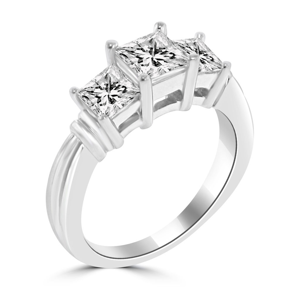 1 45 Ct Ladies Three Stone Princess Cut Diamond Engagement