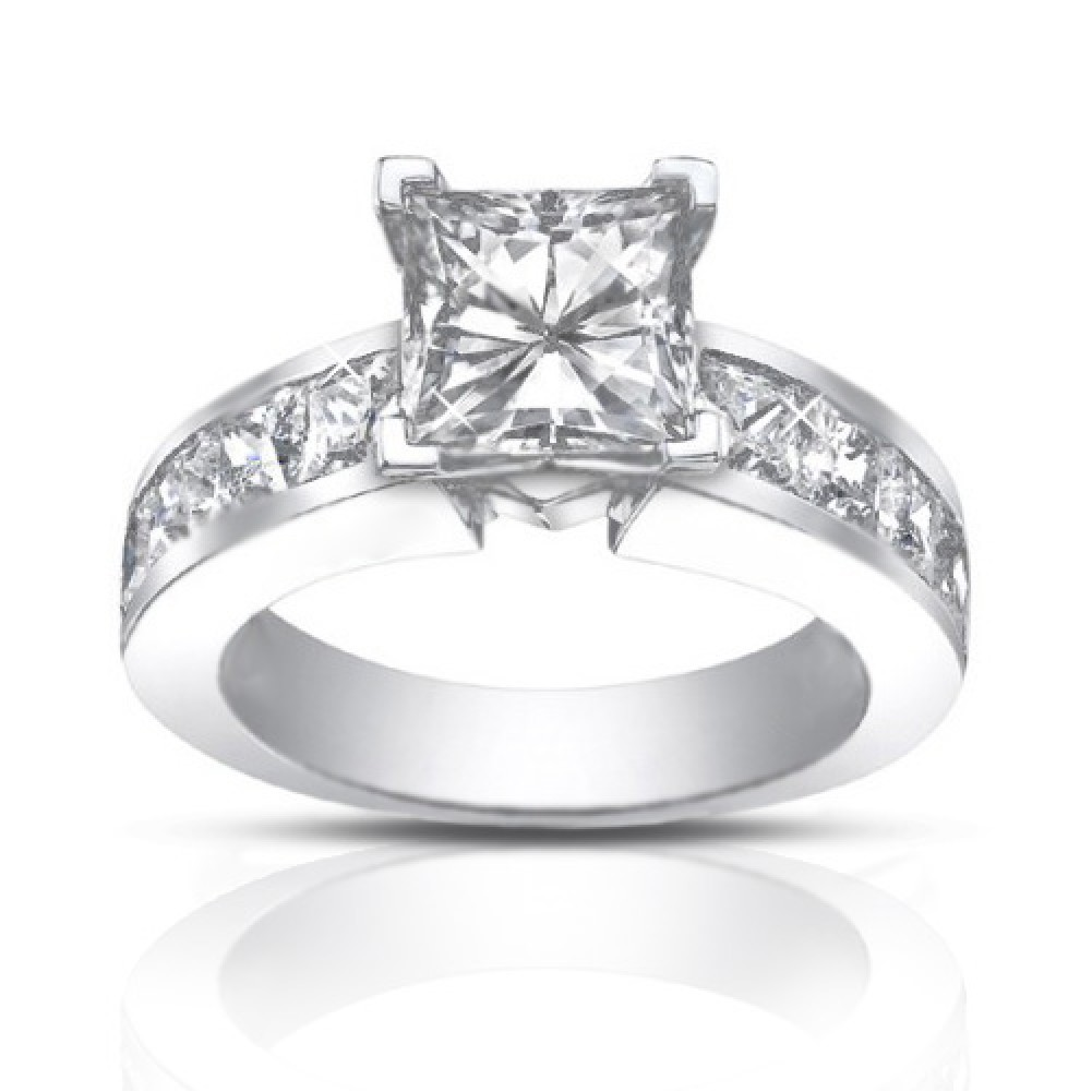 ct ladies princess cut diamond engagement ring. Black Bedroom Furniture Sets. Home Design Ideas