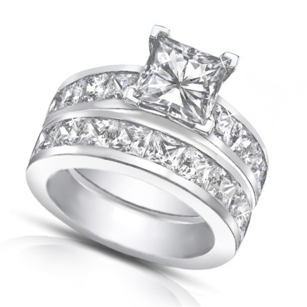 50 Ct Princess Cut Diamond Engagement Ring Set In Channel Setting