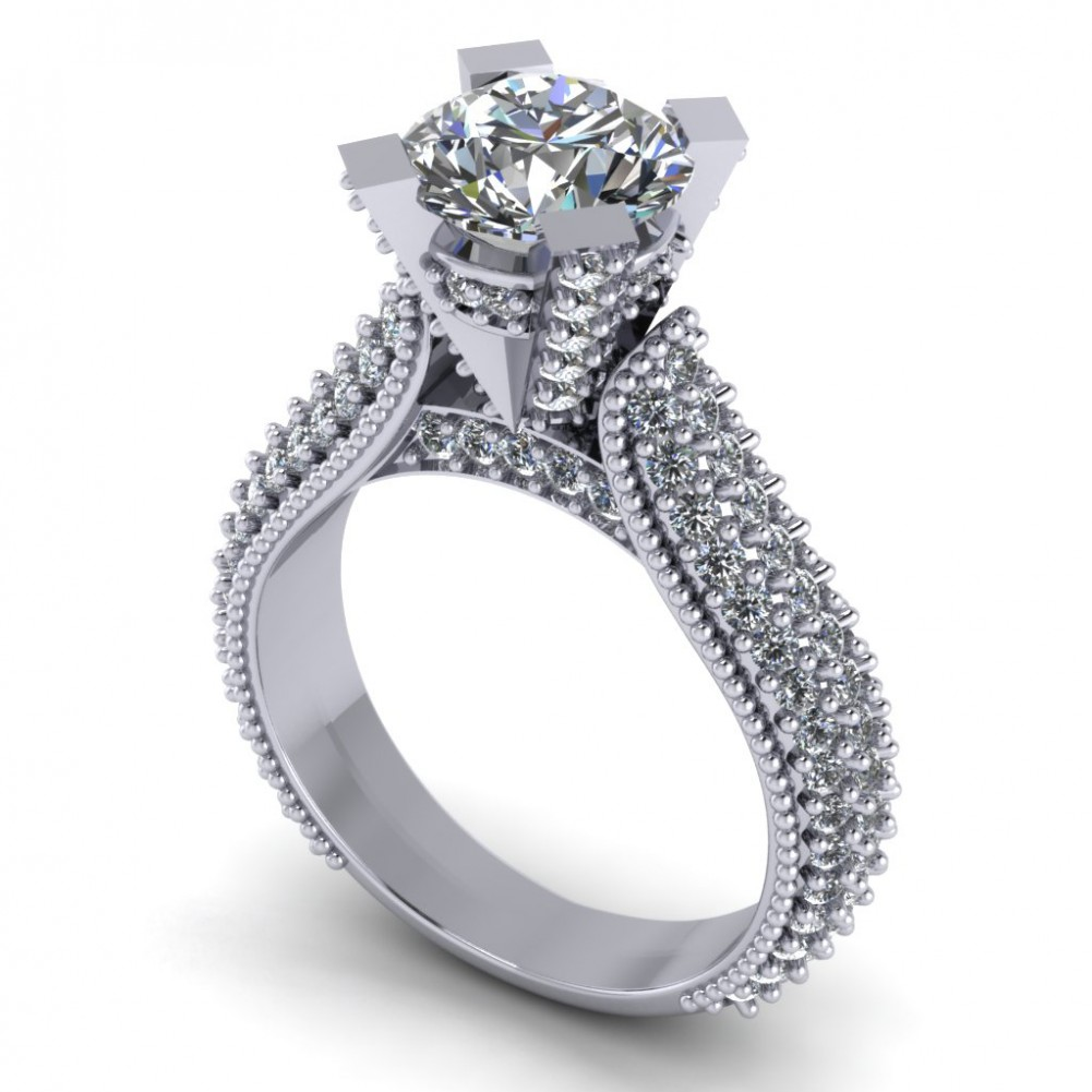 265 Ct Pave Set Round Cut Diamond Engagement Ring