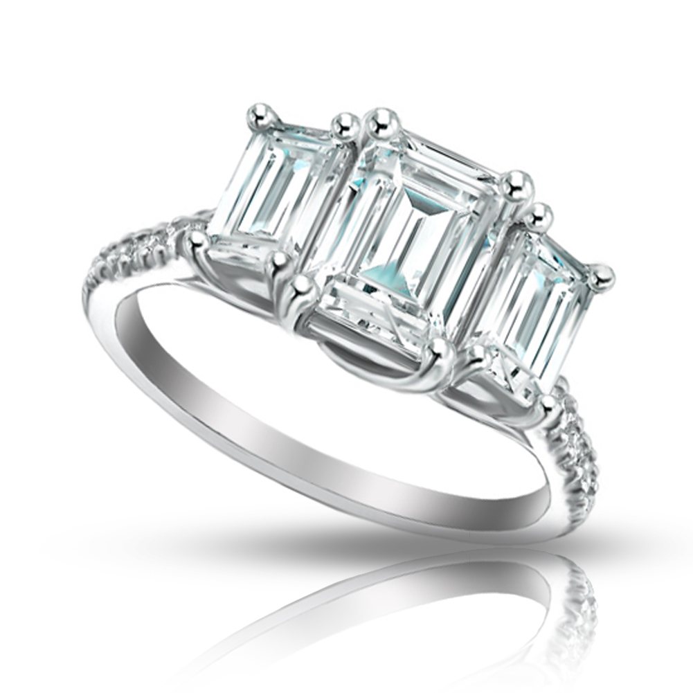 2 10 ct La s Emerald Cut Diamond Engagement Ring