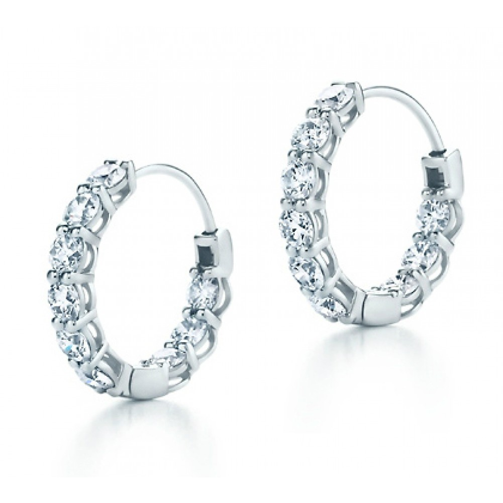 2 25 Ct Ladies Round Cut Diamond Hoop Huggie Earrings