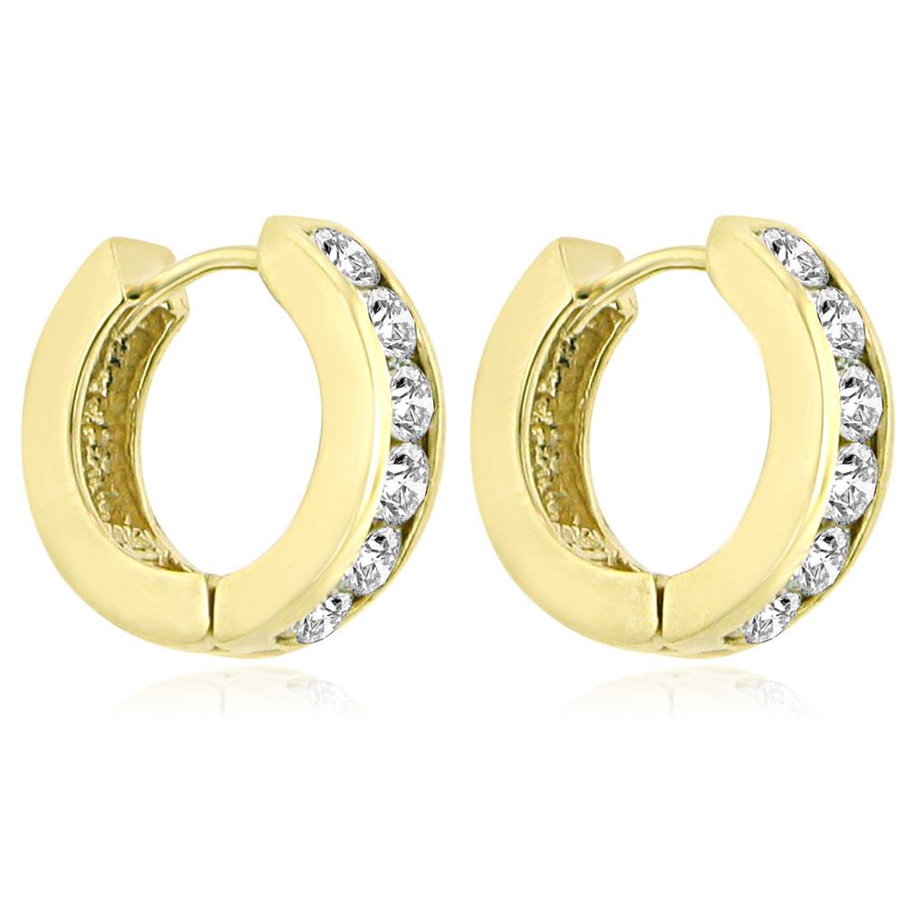 ... ct Ladies Round Cut Diamond Hoop Huggie Earrings In 14 Kt Yellow Gold