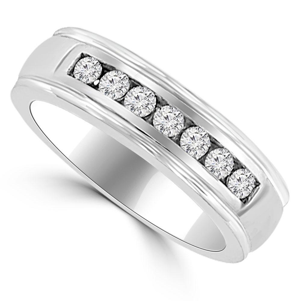 066 Ct Mens Round Cut Diamond Wedding Band In 14 Kt White Gold