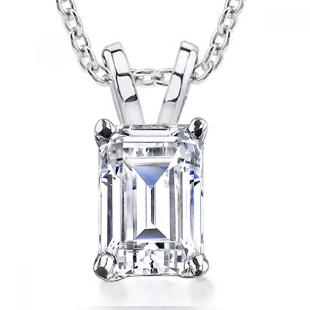 0 70 Cr Emerald Cut Diamond Solitaire Pendant Necklace