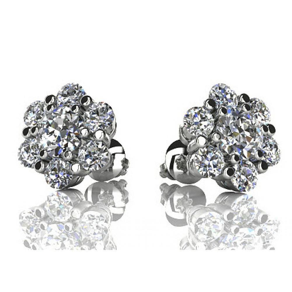 ct round cut diamond stud earrings in screw back. Black Bedroom Furniture Sets. Home Design Ideas