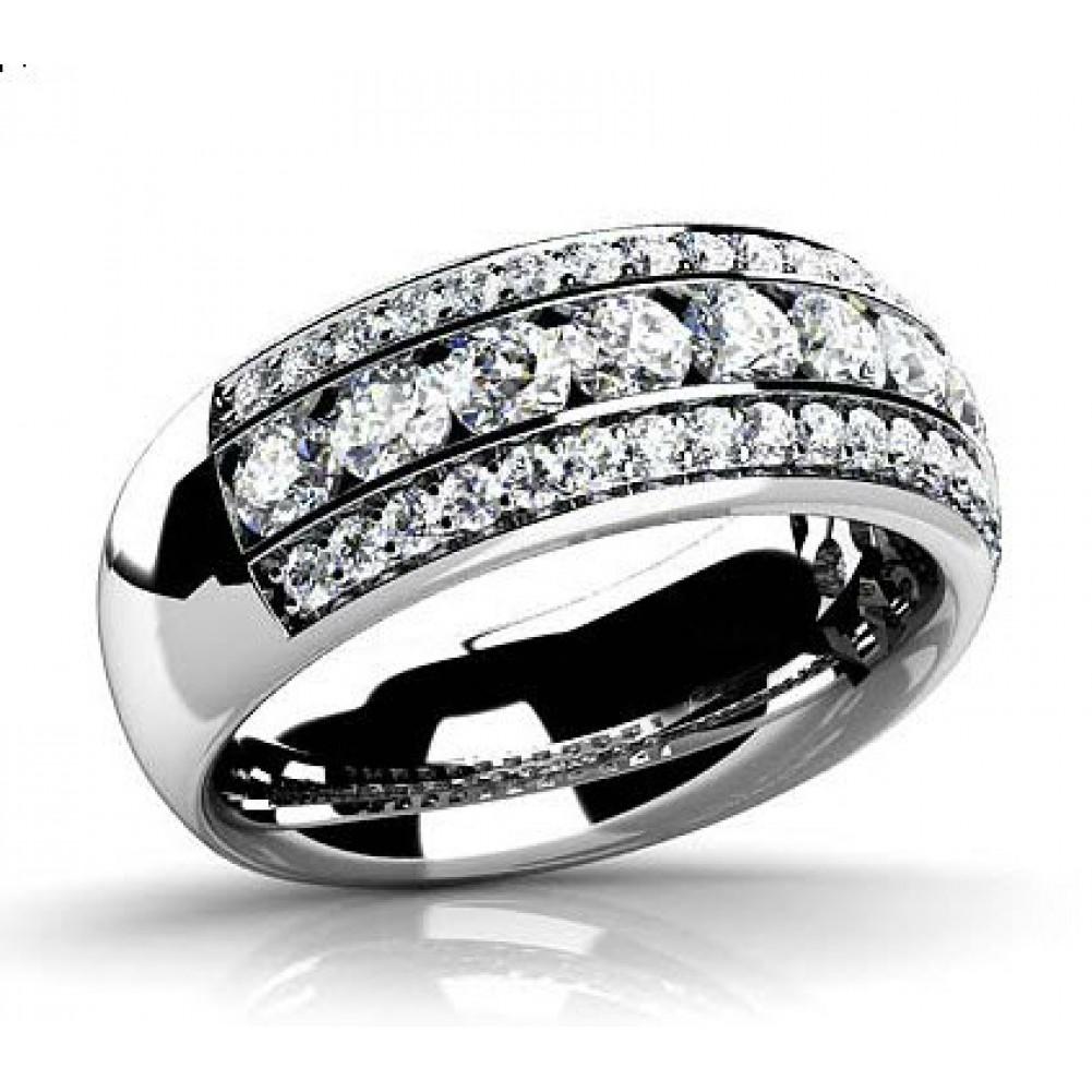 3 00 ct three row cut wedding band ring