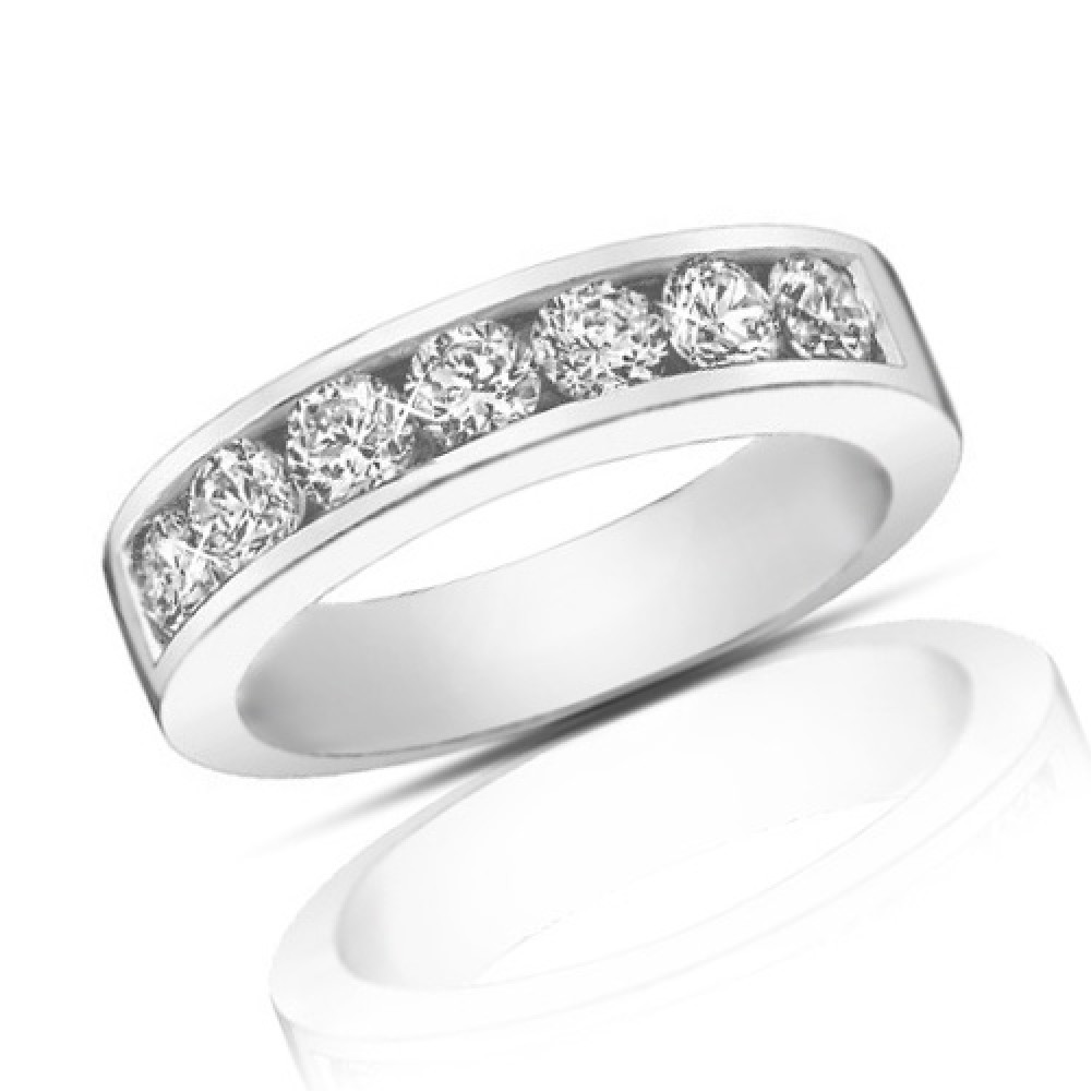 1ct Diamond Bands: 1.25 Ct Round Cut Diamond Wedding Band Ring In Channel Setting